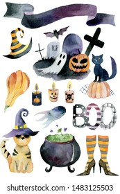 Set of hand-drawn elements painted in watercolor.Watercolor halloween collection. Artistic autumn constructor clip art. In the picture: witch shoes, striped socks, pumpkin, candle, potion, pumpkin