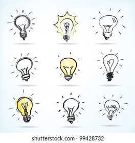 Set of Hand-drawn light bulbs, symbol of ideas - JPG version of a vector illustration from my portfolio