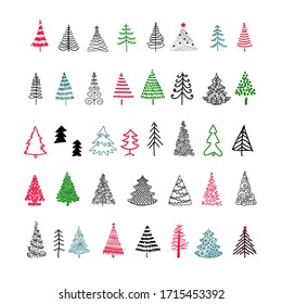 Set hand-drawn sketch Christmas and New Year tree.