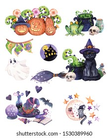 Set of hand-drawn watercolor Halloween compositions. Witch's tools, creepy pumpkins, black cat and potions for Halloween decoration stickers, packaging and interior designs, cards, posters, etc.