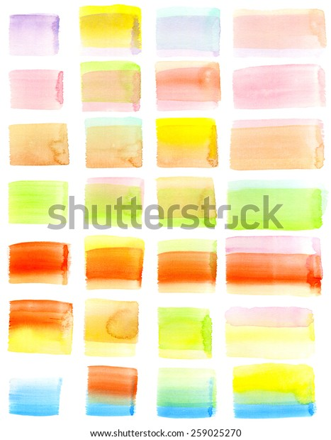 Set of hand-painted watercolor brush strokes. Layered rectangle and square shapes in pastel tones. White background for easy cutout. Hand drawn using transparent watercolor paint on paper.