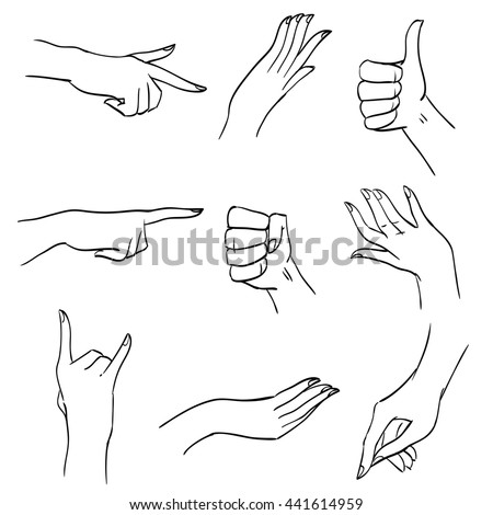 set hands fingers different positions gesturesのイラスト素材