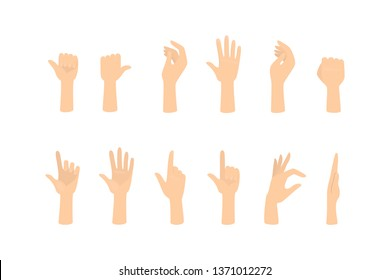 Set of hands showing different gestures. Palm pointing at something. Isolated flat  illustration