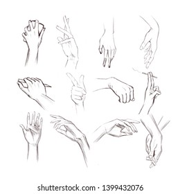 Set of hands showing different gestures, signals and signs. Illustration