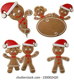 Set of happy Christmas gingerbread, 3d characters, girl and boy, merry Christmas icons, funny objects isolated on white background