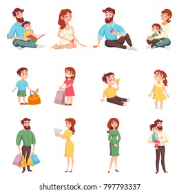 Set of happy family members with mom dad daughter son with bag cartoon style isolated  illustration