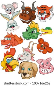 Set. Heads of animals. Chinese horoscope. Cartoon style. Clip art for children.