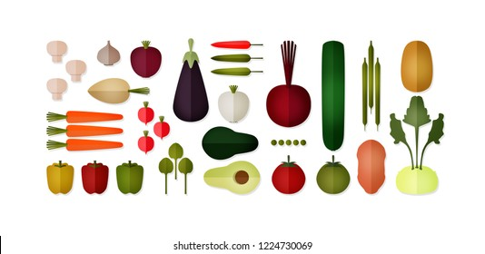 Set of healthy vegetables. Fresh food. Vegetable. Suitable for vegans Bright colors on white background