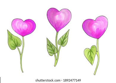 Set of heart shaped flowers for Valentine's Day. Hand drawn watercolor illustration for Valentine's Day, Mother's Day, Birthday, isolated on white background