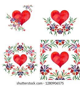 set with hearts and flovers