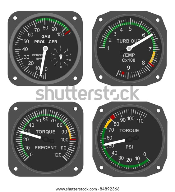 Set Helicopter Gauges Turbine Outlet Temperature Stock Illustration