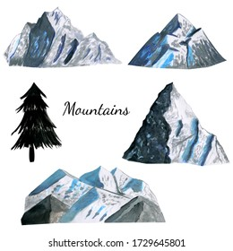 Set of high mountains covered with snow in grey and vlue colors. Watercolor gouache hand drawn illustrations in realistic cartoon style. Concept of travelling, tourism, climbing, camping, alpinism