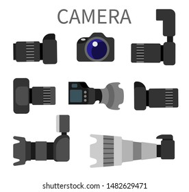 Set of high resolution action cameras with removable lens raster illustration front and side view photocameras isolated. Gear with flash and zoom function