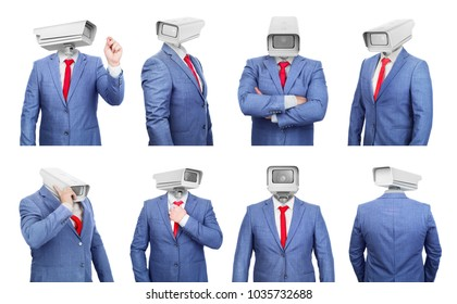 Set of hollow costumes with a heads in shape of surveillance cameras on a white background 3d illustration