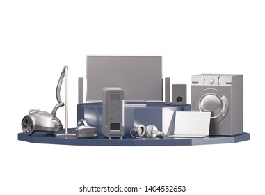 Set of Home Appliances / Electronics isolated on White Background. 3D illustration