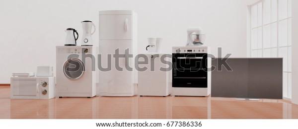 Set von Haushaltsgeräten auf Holzfußboden. 3D-Illustration