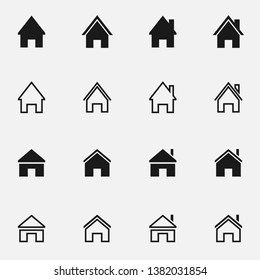 Set of home black and white  icon.