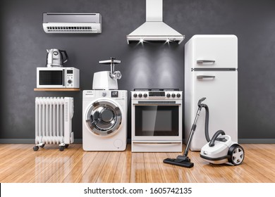 Set of home kitchen appliances in the room on the wall background 3D
