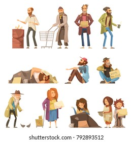 Set of homeless people including adults and kids begging money and needing help isolated  illustration