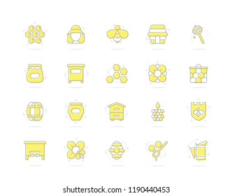 Set of honey line colored icons. Bee, honeycomb, barrel, beekeeper, dipper, jar, flower, beehive, pot, hexagon, beeswax, spoon and more. Editable Stroke.