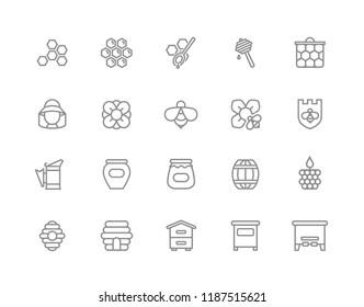 Set of honey line icons. Bee, honeycomb, barrel, beekeeper, dipper, jar, flower, beehive, pot, hexagon, beeswax, spoon and more. Editable Stroke.