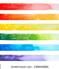 Set of horizontal panoramic watercolor banners for Your design