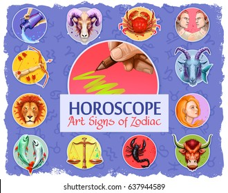 Set of horoscope art signs of zodiac isolated. Fire: Aries, Leo and Sagittarius. Earth: Taurus, Virgo and Capricorn. Water Signs: Cancer, Scorpio and Pisces. Air Signs: Gemini, Libra and Aquarius.