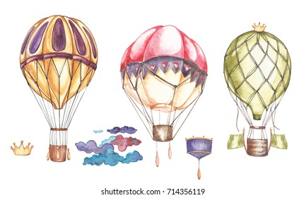 Set of hot air balloons and blimps, watercolor illustration