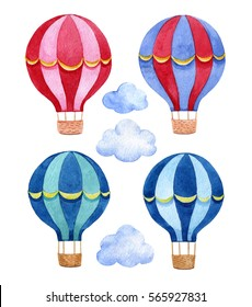 Set with hot air balloons and clouds. Watercolor hand drawn illustration