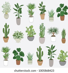 Set of house indoor plant cartoon doodle seamless pattern.