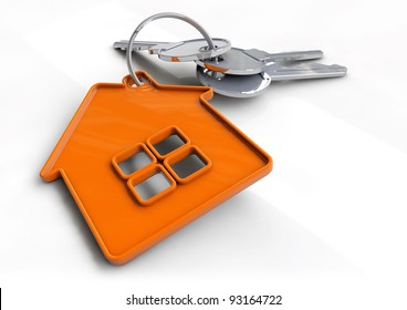 Set of house keys on a orange house shaped keyring isolated on white. Concept for owning, buying or getting a bond or mortgage for your new home and becoming a home owner.