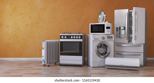 Set of household kitchen technics on yellow background. Set of appliance in the new appartments. E-commerce online internet store and delivering of appliances concept. 3d illustration
