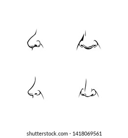 Set of human noses of different shapes and angles. Icons, part of the face in profile, frontal in the comics style. Nostrils, nasal bridge and nasolabial folds. Tactile organ, Isolated silhouette