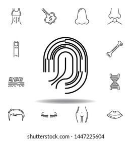 set of human organs fingerprint outline icon. Signs and symbols can be used for web, logo, mobile app, UI, UX