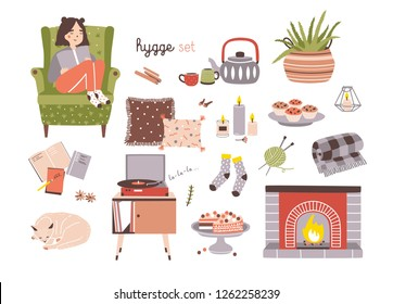 Set of hygge attributes, furniture and home decorations isolated on light background - fireplace, pillows, turntable with playing vinyl record, girl sitting in cozy armchair. illustration.