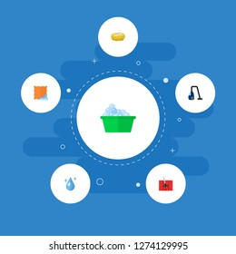 Set of hygiene icons flat style symbols with clean cloth, washcloth, drop water and other icons for your web mobile app logo design.