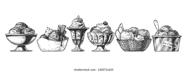 Set of Ice Cream served in different bowl: steel, ceramic, glass, waffle and paper bowls. Hand drawn illustration in vintage engraved style. Isolated on white background.