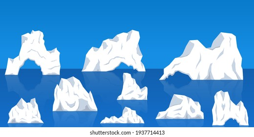 Set of Icebergs floating in Sea. Frozen mountain and icy, frozen liquid and north theme. Set of isolated icebergs or drifting arctic glaciers. Icebergs in Ocean Water.