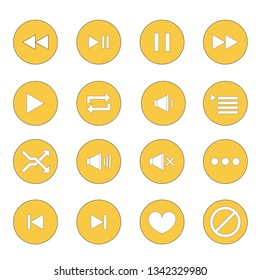 Set icon music and multimedia on white background, illustration