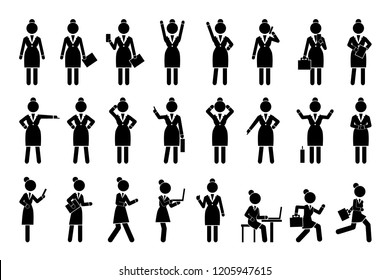 Set of icons business woman activities silhouettes, such as talking on phone, checking emails on laptop, hurrying up and working  raster