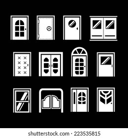 Set icons of doors isolated on black