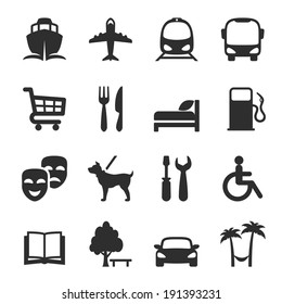 Set of icons for locations and services with a port  airport  bus  tram  shopping trolley  restaurant  accommodation  hotel  theatre  gas station  workshop  library  dog walking  resort and hospital