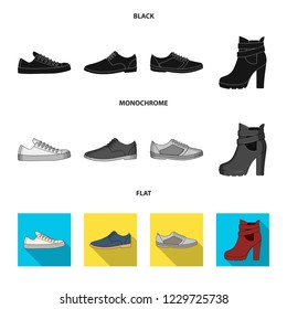 A set of icons on a variety of shoes.Different shoes single icon in black, flat, monochrome style bitmap web symbol stock illustration.