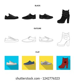A set of icons on a variety of shoes.Different shoes single icon in black,flat,outline style bitmap web symbol stock illustration.