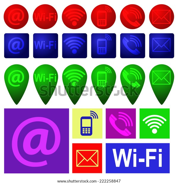 Set Icons Representing Various Types Communication Stock