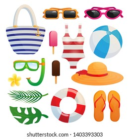 Set of icons summertime items isolated on white background raster copy