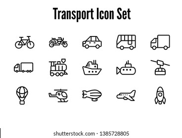 a set of icons with the theme of transportation. a collection of 15 vehicle icons, from land, water and air vehicles