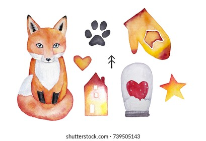 Set of icons, watercolor illustration isolated on white background. Cute fox, glass ball with heart inside, fox trace of paw, star, gradient watercolor house, heart shape, mitten with fox ornament.