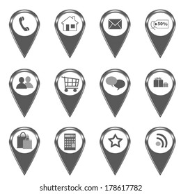 Set of icons for web or markers on maps in gray color