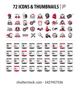 set of icons and web thumbnails, collection of 72 flat symbols and tabs, read more buttons, red and gray ribbons, creative isolated graphic design elements and shapes on white background